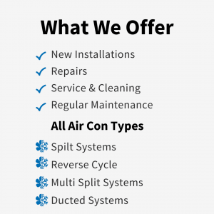 List of Technicool Air Conditioning Services available in Brisbane